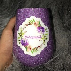 Bridesmaid glitter wine glass